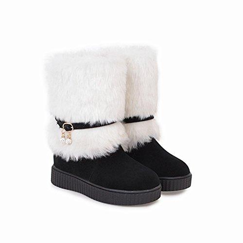 Snow Women's Faux Boots Fur Flat Latasa Black SwfqvUCUW