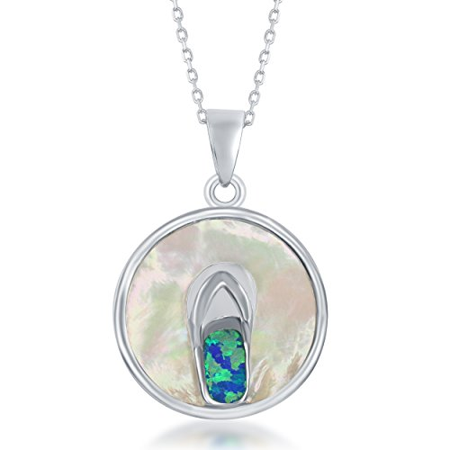 Sterling Silver Mother of Pearl and Created Opal Flip-Flop Circle Pendant with 18