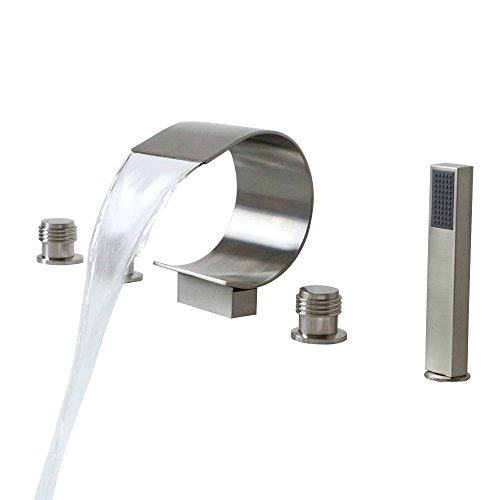 Lovedima Mooni Waterfall Roman Tub Faucet Deck Mount Bathtub Faucet&Handheld Shower in Brushed Nickel