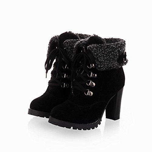 KaiCran Womens Winter Shoes for ladies Casual Plush Boots Girl Lace-up High Heel Ankle Boots Black XgaqjDq