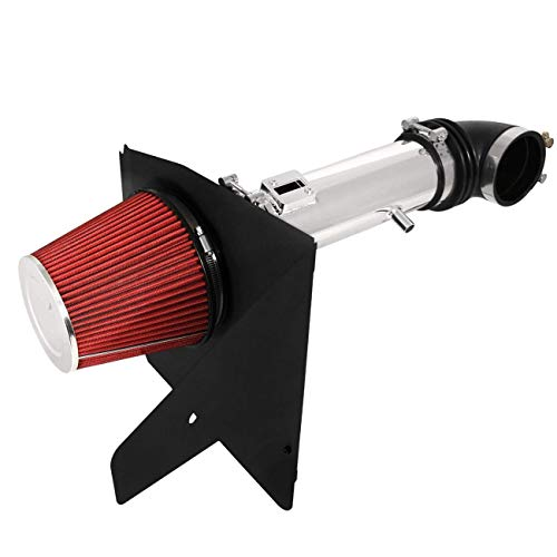 Price comparison product image For 2012-2015 Chevy Camaro (V6 3.6L Only) 3.5 Inch Aluminum High Flow Air Intake Kit Polish Heat Shield Pipe with Red Filter