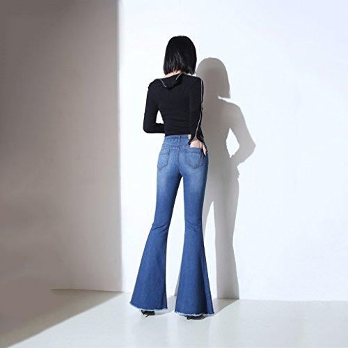 Foro Trombette Blue Micro Size 28 Larghi Della Vita J Sottili A Da Jeans Blue Micro Grandi Pelosi slim Donna Alta color Gamba Pantaloni corno gq5ZnSw