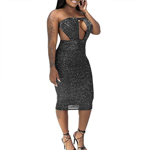 (Caopixx Women Sexy Hollow Out Sequined Stitching Club Sheath Long Sleeved Bodycon Clubwear Dress Silver)