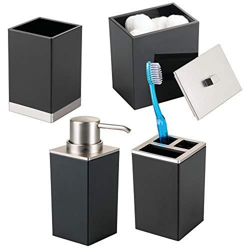 mDesign Plastic Bathroom Vanity Countertop Accessory Set - Includes Soap Dispenser Pump, Divided Toothbrush Holder, Tumbler Rinsing Cup, Storage Canister - 4 Pieces - Black/Brushed (Black Complete Pedestal Sink)