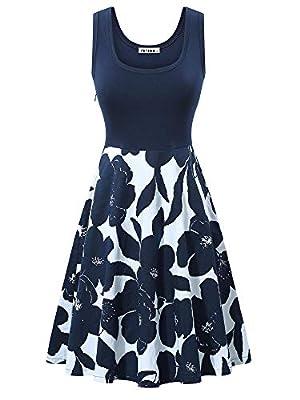 VETIOR Women's Vintage Scoop Neck Midi Dress Sleeveless A-line Cocktail Party Tank Dress