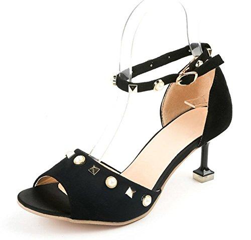 Sommer Fischkopf mit Glas Fersen in Sandalen Nieten Schnalle Schuhe Perlen Wort Black