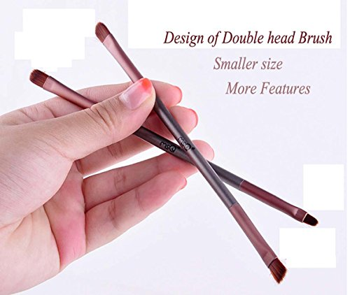 QCBC 6 Make-up Pinsel Braun Man-made Fasern PU Tasche Make-up Pinsel Set