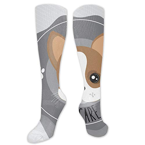 PHOSUP Dog Pet Care Icon Women Stockings Anti-Fatigue Graduated Compression High Socks