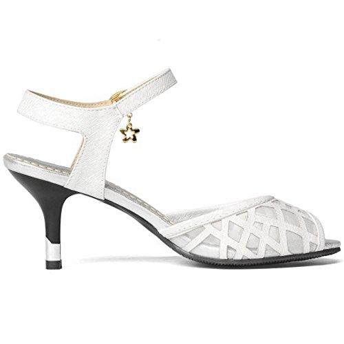 TAOFFEN Mujer Moda Tacon Medio Sandalias Peep Toe Mini Tacon Zapatos De Hebilla Plata