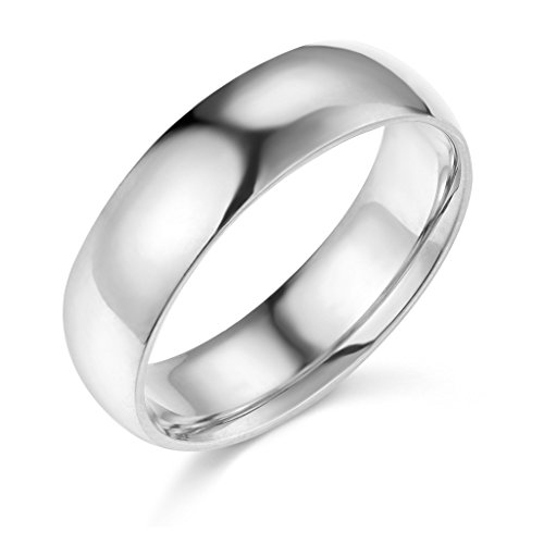 14k White Gold 6mm Plain Wedding Band - Size 5