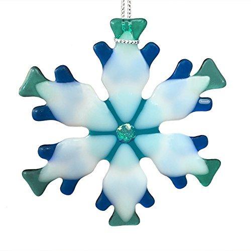 Blue Mix Kiln Fired Glass Snowflake Ornament #4