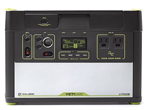 Goal Zero Yeti 1400 Lithium Portable Power Station 1425Wh Silent Gas Free Generator Alternative With 1500 Watt (3000 Watt Surge) AC Inverter, USB, 12V Outputs