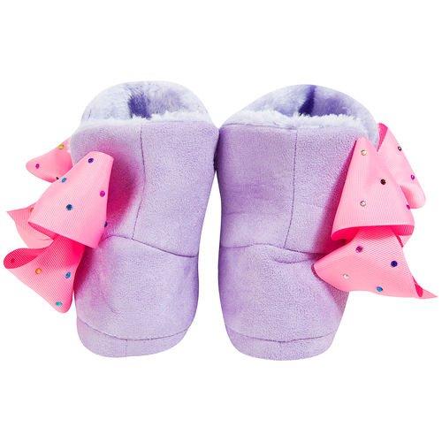 Jojo Bögen Hausschuhe Unterschrift Sammlung Bögen Ballerina oder Bootie Slipper-beste Weihnachtsgeschenk für Ihr kleines Mädchen (3-4, lila Bootie)