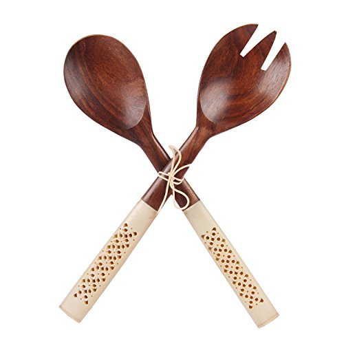 Aheli Handmade Brown Wooden Serving Spoon Set of 2 Pieces with Horn Handle Salad Servers, 11.5 inches long