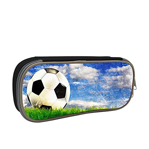 Pencil Case Cool Soccer Football 3D Printed School Pen Bag Big Capacity Double Zipper Durable Students Stationery Multipurpose Makeup Pouch Buggy Bag for Boys Black ()
