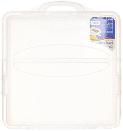 Blue Hills Studio 14-Inch by 14-Inch by 3-1/4-Inch Stow and Go Storage Bin, Translucent