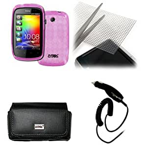EMPIRE HTC Explorer Black Leather Case Pouch with Belt Clip and Belt Loops + Hot Pink Poly Skin Cover Case + Universal Screen Protector + Car Charger (CLA) [EMPIRE Packaging]