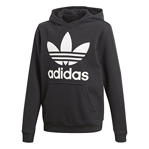 (adidas Originals Big Kids Originals Trefoil Hoodie, Black/White, L)