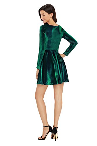 Annigo Velvet Dress for Women Long Sleeve Pleated New Years Eve Dress,Dark Green,Small by Annigo (Image #4)