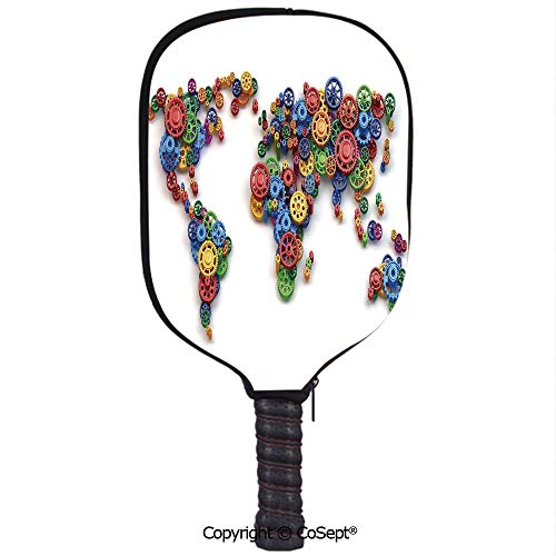 PUTIEN Neoprene Racket Set,Map of The World Colorful Gears Design Economy Concept Art Print Decorative,Protect Your Paddles from Scrapes & Dings(8.26x11.61 inch) Multicolor