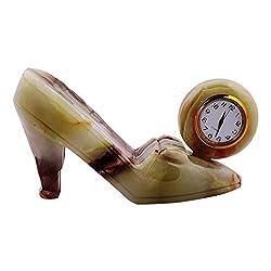 Radicaln Handmade Marble and Onyx Desk & Shelf Clocks - For Home and Office (Pumpy-Onyx)