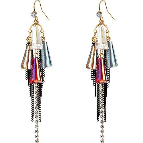 Showfay Fashion Long Dangle Statement Bohemia Tassel Earrings Crystal Beaded Handmade Personality Earrings for Women Crystal Beaded Teardrop Hoop Earrings