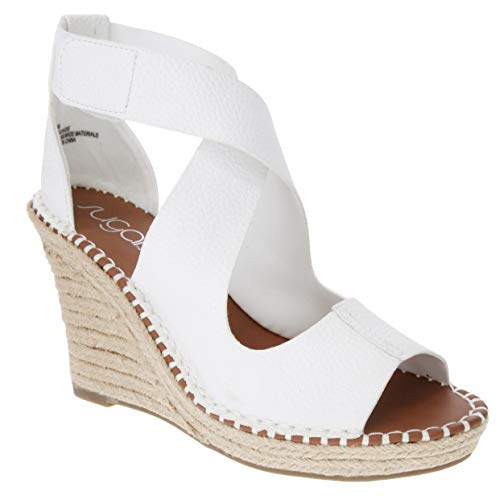 Sugar Women's Hazee Espadrille Wedge Sandal with Cross Straps and Adjustable Closure 10 White