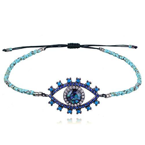 KELITCH Evil Eye Charm String Bracelets Handmade Crystal Seed Beads Strand Bracelets Fashion Jewelry for Women and Girls, Blue Green
