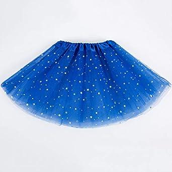 BEESCLOVER Falda de Malla elástica para niñas con Lentejuelas Azul ...