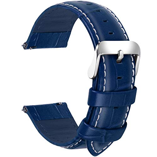 - Fullmosa 7 Colors for Quick Release Leather Watch Band, Bamboo Series Genuine Leather Replacement Watch Strap with Stainless Metal Clasp 20mm Dark Blue