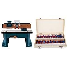 Bosch RA1181 Benchtop Router Table & Stalwart Multi-purpose 24-piece Router Bit Set