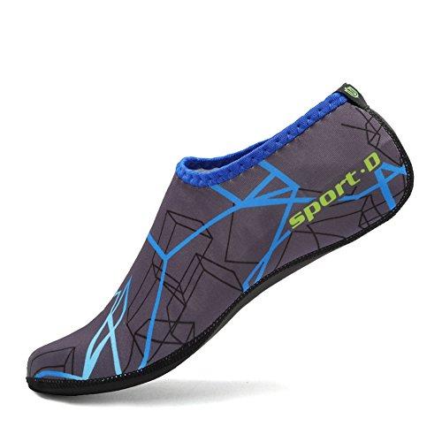 CIOR 3. Verbesserte Version Durable Sohle Barfuß Wasser Haut Schuhe Aqua Socken für Beach Pool Sand Schwimmen Surf Yoga Wassergymnastik 04d.blau