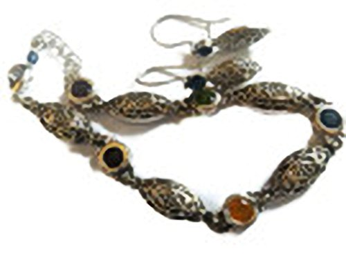 Engraved Silver Color Bracelet and Earring Set, with multicolor stones