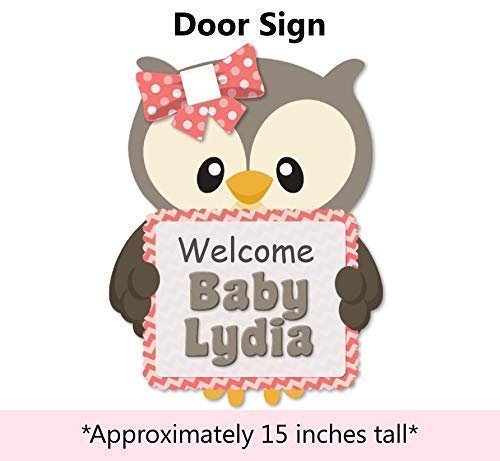 Handmade in USA Personalized Coral Pink Owl Baby Shower or Birthday Party Banner for Girl Favor Tags or Stickers Thank You Cards BCPCustom Optional Decorations Cake Topper Centerpiece Sign