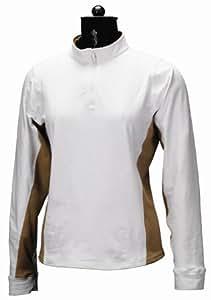 Equine Couture Women's Sportif Technical Long Sleeve Shirt, White/Tan, 1X
