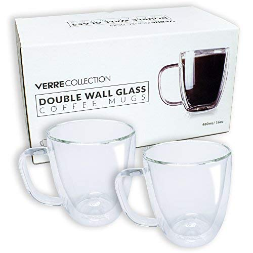 (Double Wall Glass Espresso Latte Cappuccino Mug, Coffee Cup | Set of 2 (2, 16.0 oz))