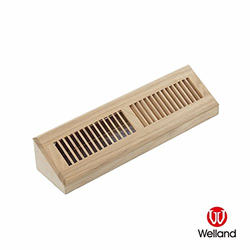 WELLAND 18 Inch Red Oak Hardwood Vent Baseboard Diffuser Wall Register, Unfinished (Wall Oak Unfinished)