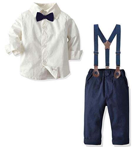 Baby Boys Dress Clothes, Toddlers Boys Long Sleeves Button Down Dress Shirt with Bowtie + Suspender Pants Set Gentlemen Outfit, 1# White, 12-18 Months = Tag 90
