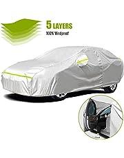 Favoto Cubierta de Coche Impermeable Funda de Coche Exterior Anti-UV Transpirable Resistente al Polvo Lluvia Rasguño Nieve al Aire Libre 490x190x150cm Plata
