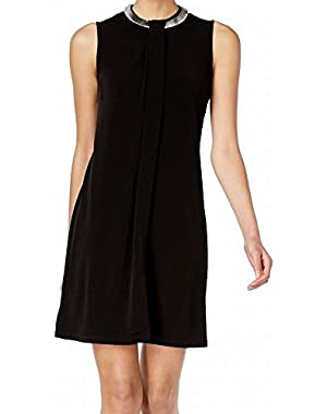 Calvin Klein Womens Necklace-Collar Sheath Dress