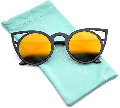 Womens Cateye Retro Fashion Retro Round Lens Cat Eye Sunglasses