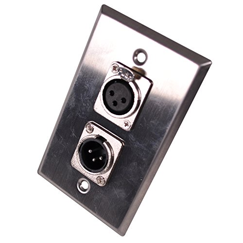 Seismic Audio SA-PLATE32 Stainless Steel Wall Plate XLR Male and Female Connector for Cable Installation