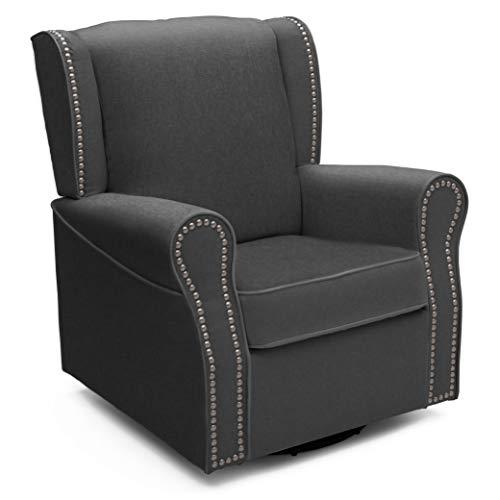 Delta Children Middleton Upholstered Glider Swivel Rocker Chair, Charcoal