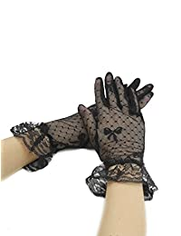 uxcell® Women Elastic Cuffs Bowknot Dots Lace Full Finger Gloves Pair Black