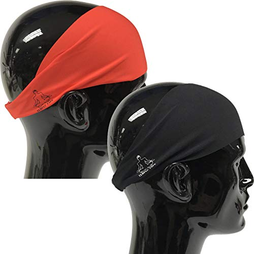 Value 2-Pack, Mens Headband - Guys Sweatband & Sports Headbands Moisture Wicking Workout Sweatbands for Running, Cross Training, Skiing and bike helmet friendly - Value Pack 1-Black & 1-Red Sweatband