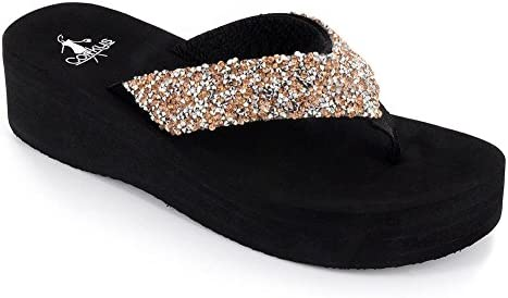 Corkys Womens Salvang Jeweled Flip Flop Sandal (Rose/Silver, 10)