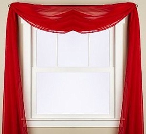 Gorgeous Home 1 PC SOLID RED SCARF VALANCE SOFT SHEER VOILE WINDOW PANEL CURTAIN 216″ LONG TOPPER SWAG