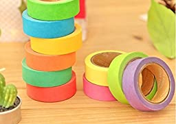 Zap Impex® Set of 6 Attractive Neon Color Adhesive Paper Tapes for Decorative Purposes like Art and Craft Projects, Gifts and More