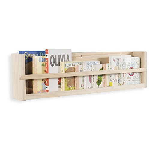 brightmaison Stylish Baby Nursery Room Wall Shelf Sturdy Birch Wood Natural Color