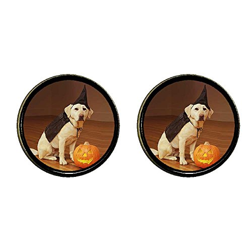 GiftJewelryShop Bronze Retro Style dog Halloween costume pumpkin Photo Clip On Earrings 14mm (Clip On Dog Ears Costume)